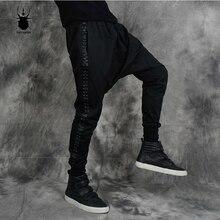Мужские брендовые сценические модные брюки с заклепками из кожи рок, с большим шаговым швом, с поперечным шаговым швом, черные мужские шаровары