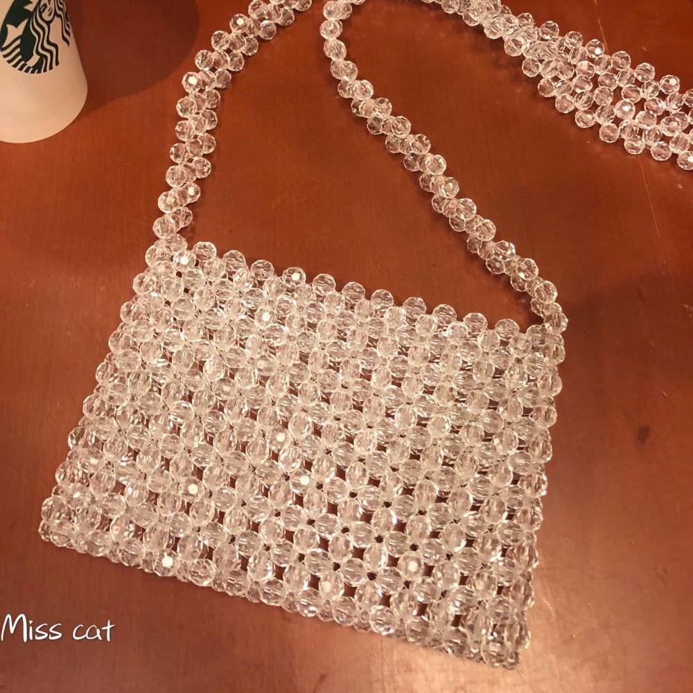 Acrylic Beaded Handmade Lady Purse Handbags Beading Pearl Women Portable Mini Tote Beach Bag Transparent Shoulder Crossbody bags
