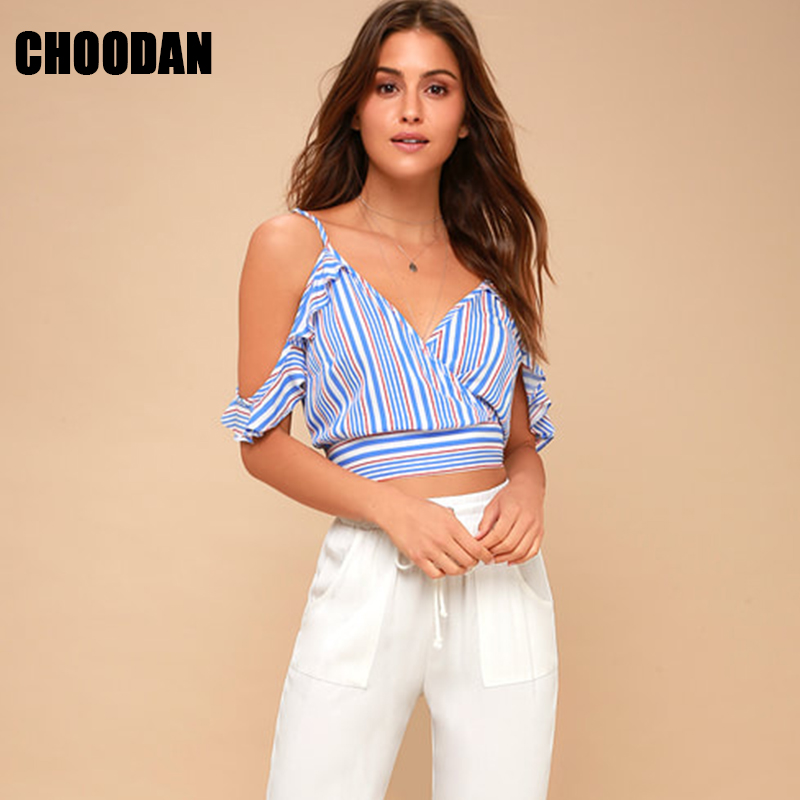 645bab874f Crop Top Women Off The Shoulder Shirt V neck Summer Sleeveless Blouses  Fashion 2018 Short Striped Blouse Ruffles Female Clothing-in Blouses & Shirts  from ...