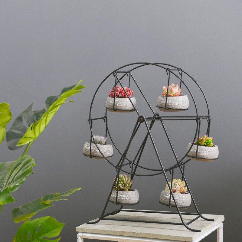 Set of Ferris Wheel Design Flowerpots Shelf Black Cement Succulent Plant Pots 6 Bonsai Panters with 1 Iron Stand