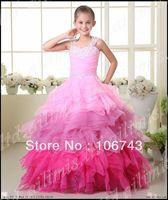 Ücretsiz nakliye 2016 Sıcak Kız Çocuk Pageant Dance Party Prenses Balo Formal elbise pembe Çiçek Kız Elbise