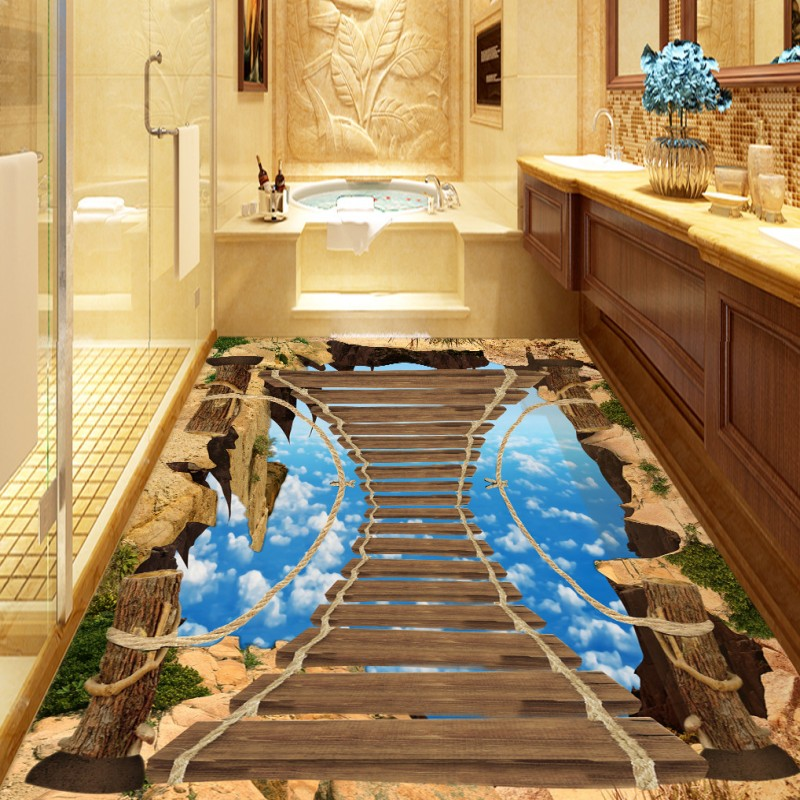 Free Shipping 3D wooden bridge cliff corridor floor painting self-adhesive home decoration bathroom flooring wallpaper mural free shipping aircraft cliff 3d painting waterproof home decoration children room bedroom floor mural self adhesive wallpaper