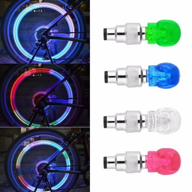 해골 모양 밸브 모자 led 라이트 휠 타이어 램프 다채로운 자전거 액세서리 자동차 오토바이 자전거 휠 라이트 교통 안전