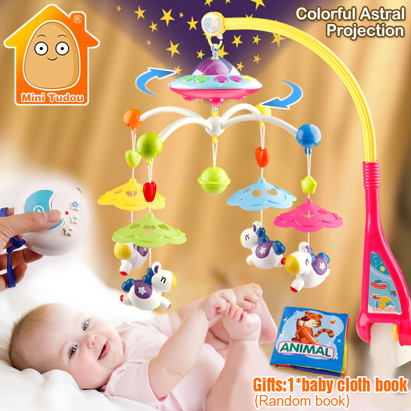 MiniTudou Baby Toys 0-12 Months Crib Mobile Musical Bed Bell With Animal Rattles Projection Cartoon Early Learning Kids Toy baby musical crib mobile bed bell baby hanging rattles rotating bracket projecting toys for 0 12 months newborn kids gift