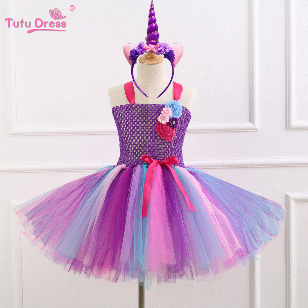Cartoon Colorful Princess Baby Girls Clothes Cosplay Tutu Dress With Headband Halloween Costume Kids Birthday Party Dresses 2017 newest kids gift minnie tutu party dress fancy costume cosplay girls minnie dress headband 12m 7y infant baby clothes red