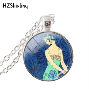 New Glass Cabochon,Art Deco Jewelry,Flapper Girl Roaring Twenties Dazzling Blue and Aqua Art Pendant,Glass Cabochon Necklace(China)