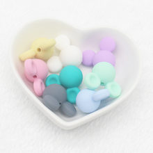 Wholesale 1PCS Mouse Head Baby Teething Beads Cartoon Silicone Beads for Necklaces Free Teether Toy Accessories Nursing DIY(China)