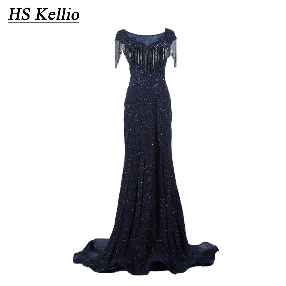 HS Kellio robe de soirée longue de luxe perlée bleu marine Occasion formelle robe de soirée longueur de plancher