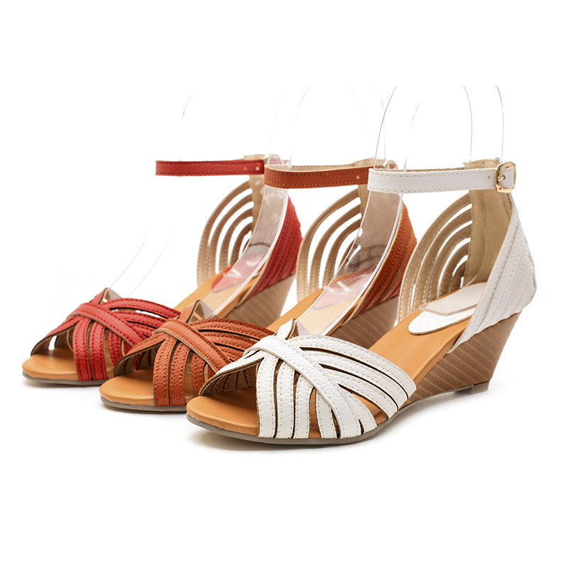 Ankle-Wrap open toe women Sandals new hot! Wedges Casual High Buckle Cover Heel Platform Sandals White orange girl shoes