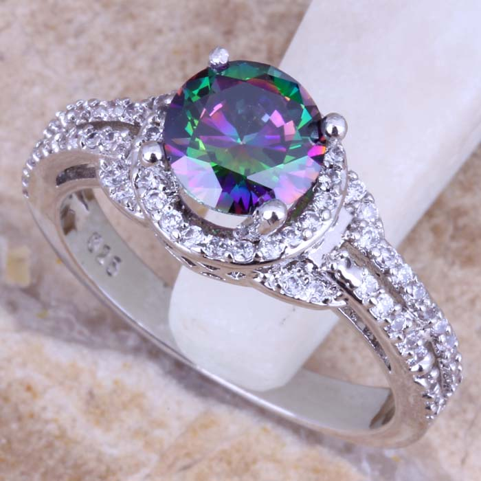 Precious Rainbow Cubic Zirconia White CZ 925 Sterling Silver For Women Ring Size 5/6/7/8/9/10 S0448