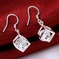 Cube cubic zirconia 925 carimbado banhado a prata d'oreille Frete Grátis cz pedra gota de cristal brincos de mulheres do sexo feminino Frete Grátis