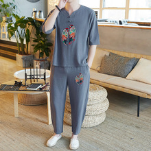 Loldeal Chinese Style Embroidery Cotton Linen Set Men TShirts+Pant 2 Pcs