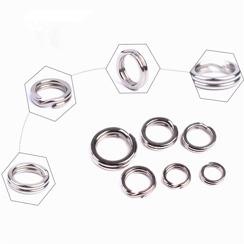 30 PCS/lot Stainless Steel Split Ring Diameter From 5.4mm-10.3mm Heavy Duty Fishing Double Ring Connector Fishing Accessories