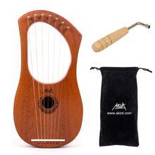 AKLOT Lyre Harp Instrument 7 String Mahogany Bone Nut with Tuning Wrench + Gig Bag for Beginner