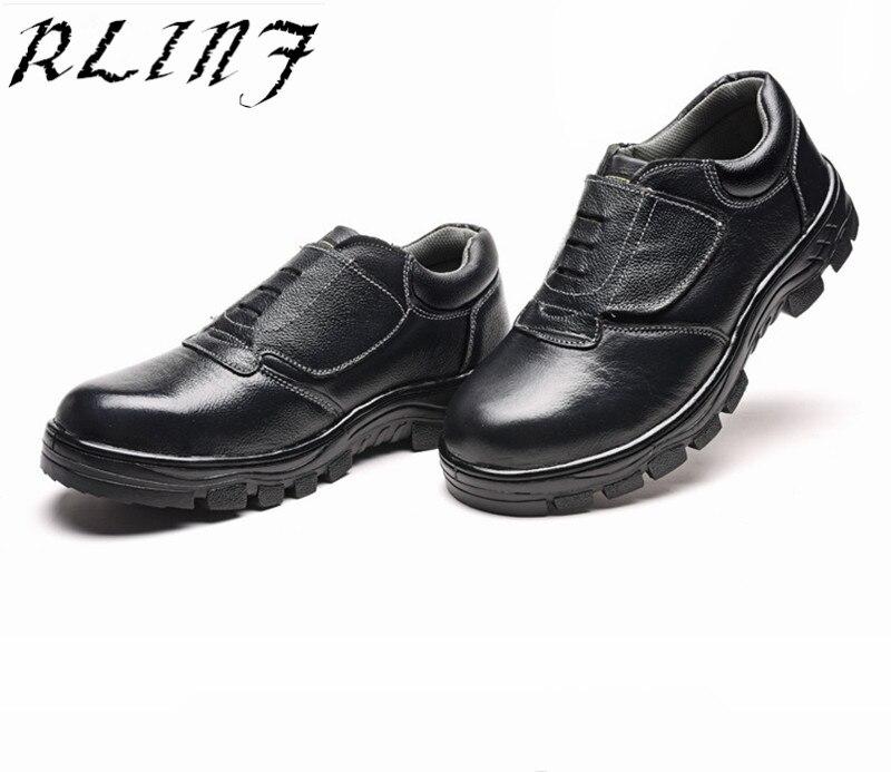estático Do Preto desgaste De Baixo Anti Rlinf Anti Couro esmagamento Segurança Anti Sapatos Trabalho 04nPTOwq