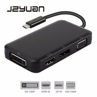 JZYuan USB C Type C 3.1 Hub Male to DisplayPort DP 4K HDMI 4K DVI 1080P VGA 1080P Splitter Hub Adapter for Macbook USB C Hub