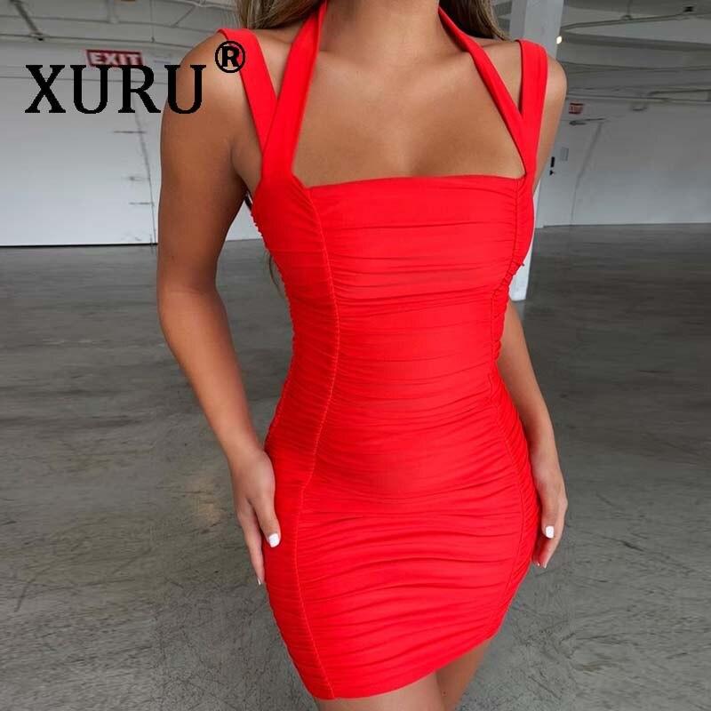 XURU летнее Новое лучшее женское сексуальное платье, облегающее плиссированное платье с вырезом, вечернее платье для ночного клуба