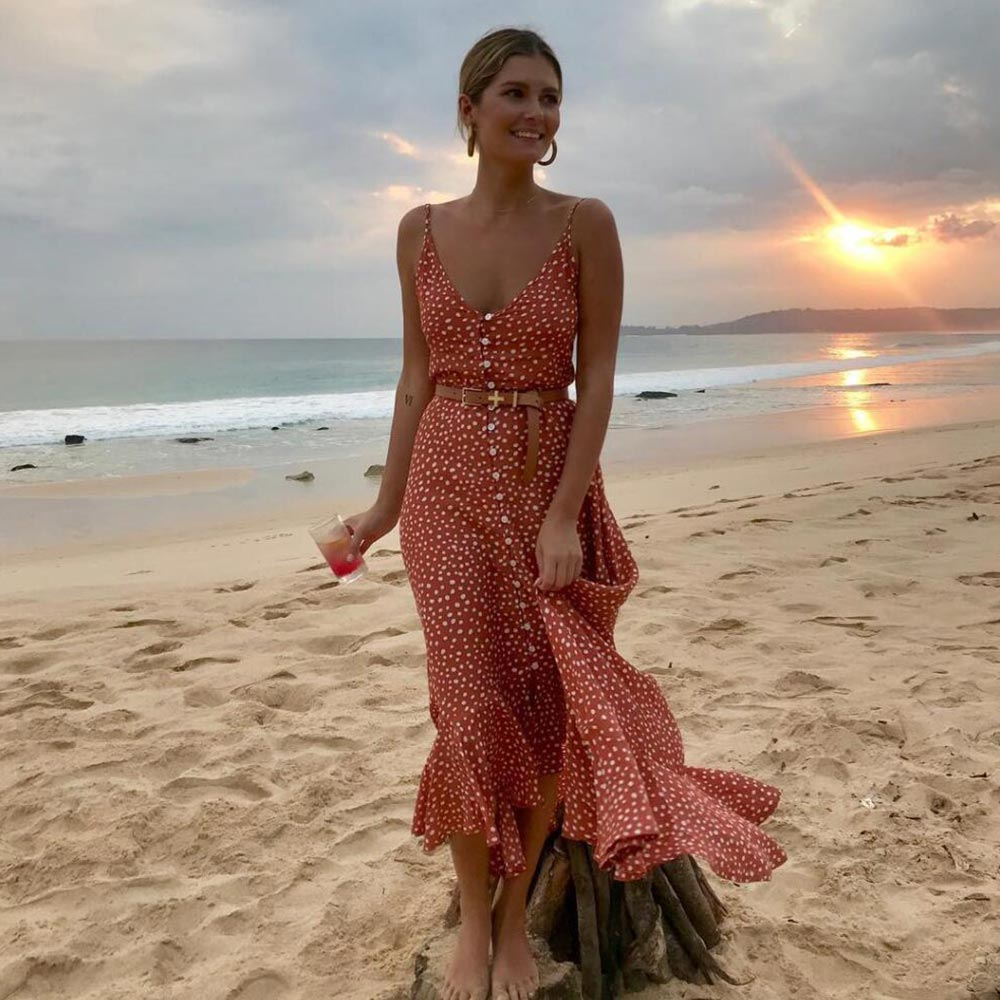 CUERLY Elegant Polka dot boho women midi summer dress Sexy v neck strap button A line dress Female print beach vestidos L8 in Dresses from Women 39 s Clothing