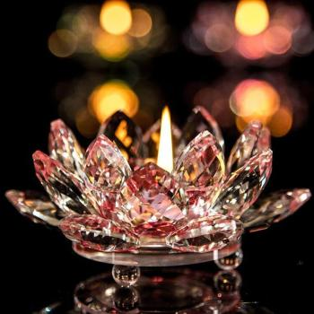 7 Colors Crystal Glass Lotus Flower Candle Holder Tea Light Holder Buddhist Candlestick holder decorative Party Wedding 5O1207 1