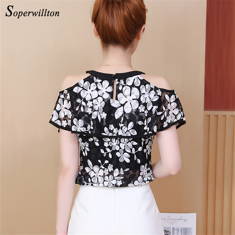 Short Sleeve Off Shuolder Lace Blouses Women Vintage Reto Floral Blouse Womes Shirts Tops Sweet transparent blusa femininas #CS4