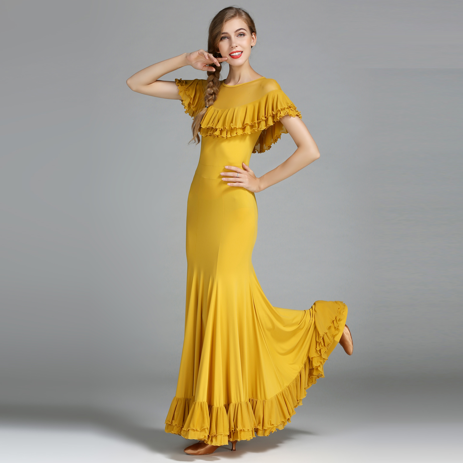 Modern Dance Costume Women Lady Adult Waltzing Tango Ruffled Dancing Dress Ballroom Costume Evening Party Dress 1846 and 1847 latin dance top and skirt suits dance dress ballroom costume leotard women lady adult evening party dress