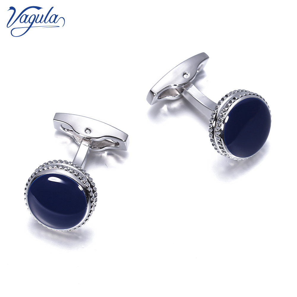 VAGULA Brass Cufflinks Classic Blue Enamel Gemelos Luxury Men Suit Shirt Cuff Links Gift 822