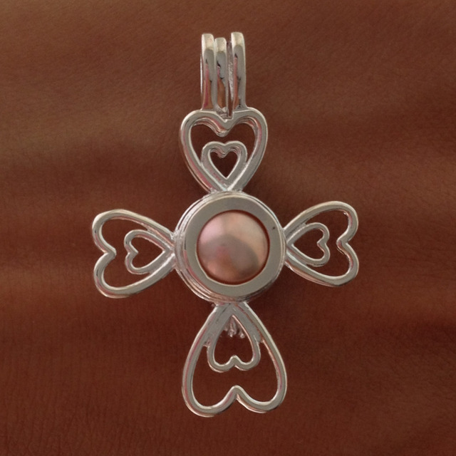 925 silver pearl cage locket pendant mounting sterling silver cross 925 silver pearl cage locket pendant mounting sterling silver cross heart flower style love charm aloadofball Image collections