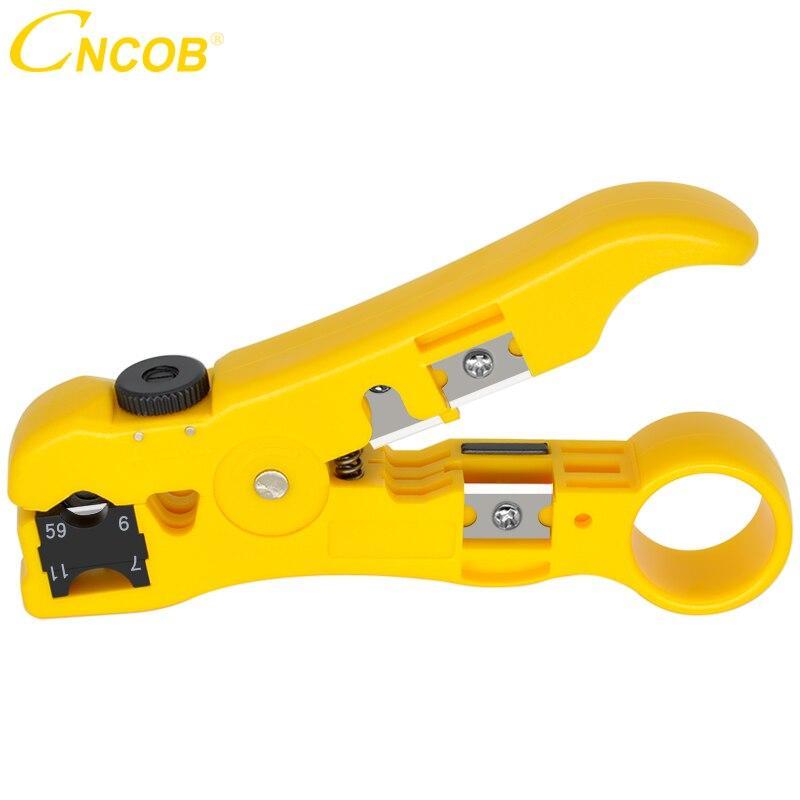 CNCOB Automatique Dénudeur de Câble Électrique Outils de Décapage pour UTP/STP RG59 RG6 RG7 RG11 multi-fonctionnel Coupeur str