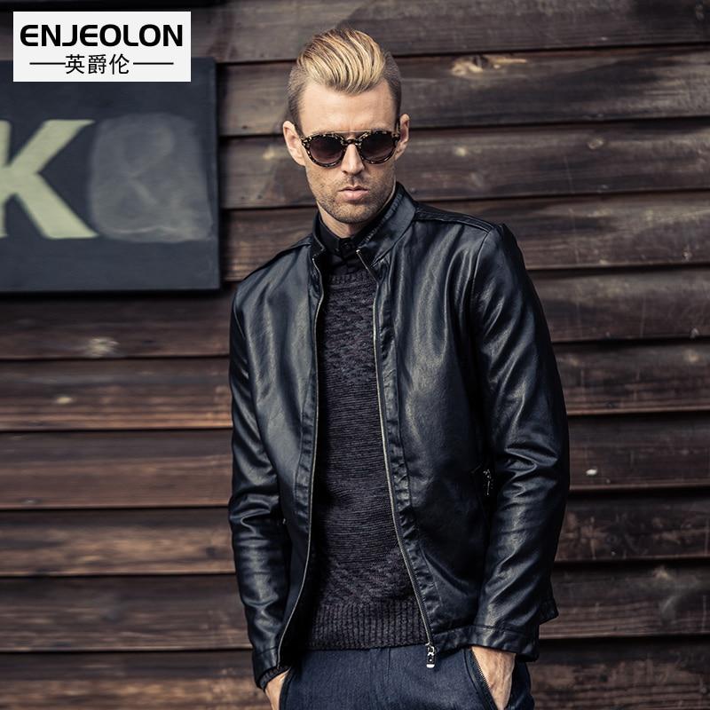 Enjeolon márka minőség Motorkerékpár kabát férfi PU bőr dzsekik Férfi őszi bőrkabát férfi Alkalmi fekete bőr kabát férfi P222