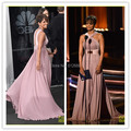 2016 Emmy Red Carpet halle-berry Dress Sleeveless A-line Cap Sleeve Golden Sash Celebrity Dresses