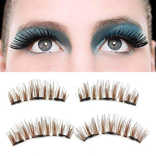7809959075f Fashion 4pcs 3D Brown Magnetic False Eyelashes New Reusable Fake Eyelash  Ultra Thin Ultra-Lightweight Natural Look Fake Lashes