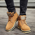 Hombres Botas de Nieve Botas de piel de Invierno de Los Hombres Zapatos de Cuero de LA PU negro Tobillo Botas de Invierno Para Los Hombres Zapatos de Los Planos Chaussure Homme Botas