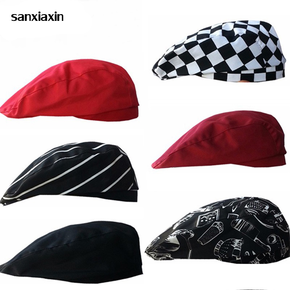 Sanxiaxin Chef Caps Cafe Bar Waiter Beret Restaurant Hotel Workwear Cook Baking Cap Men Women Breathable Chefs Hat Chef Clothes