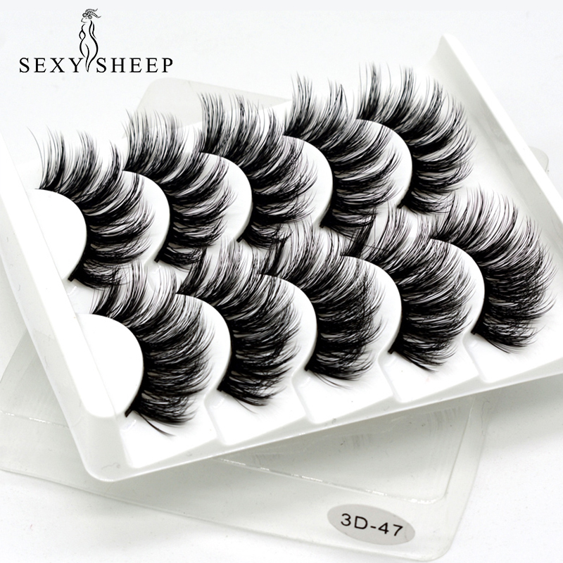 SEXYSHEEP Maquillage Extension-Tools Faux Cils Mink-Hair Beauty Wispy Long Naturel / épais