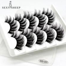 SEXYSHEEP, 5 пар, 3D, норковые накладные ресницы, натуральные/толстые, длинные ресницы для макияжа, инструменты для наращивания