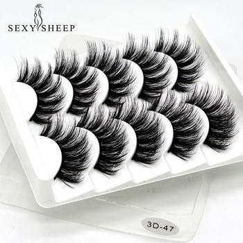 Sexysheep 5 pares 3d vison cílios postiços natural/grosso longo olho cílios wispy maquiagem beleza extensão ferramentas 1