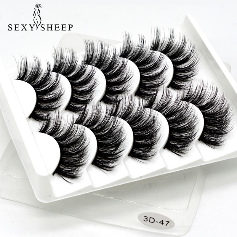 SEXYSHEEP 5Pairs 3D Mink Hair False Eyelashes Natural/Thick Long Eye Lashes Wispy Makeup Beauty Extension Tools(China)