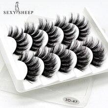 SEXYSHEEP 5 çift 3D vizon takma kirpikler doğal/kalın uzun göz Lashes Wispy makyaj güzellik uzatma araçları