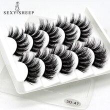 SEXYSHEEP – Faux cils en poils de vison 3D naturels, épais et longs, extension capillaire, accessoire beauté et maquillage, 5 paires/lot