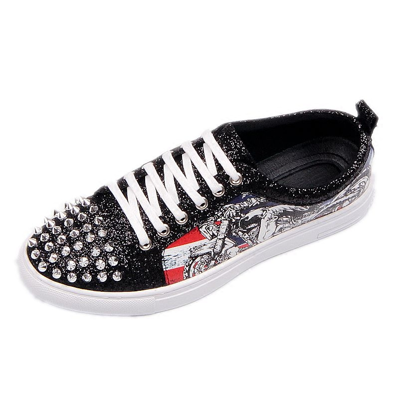 Fashion Men's Sneakers Studded Rivets Casual Black Round Toe Shoes Man Heavy Bottom Lace Up Male Flats Zapatos Hombre-in Men's Casual Shoes from Shoes on Aliexpress.com | Alibaba Group 29