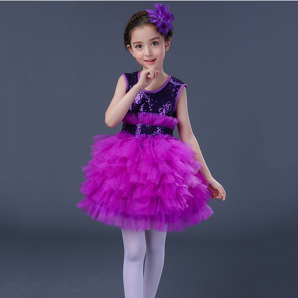 Yellow Blue Kids Party Wear Clothes for Girls Fluffy Ball Gown Organza Wedding Dress Sequin Purple Cocktail Dresses for Girls