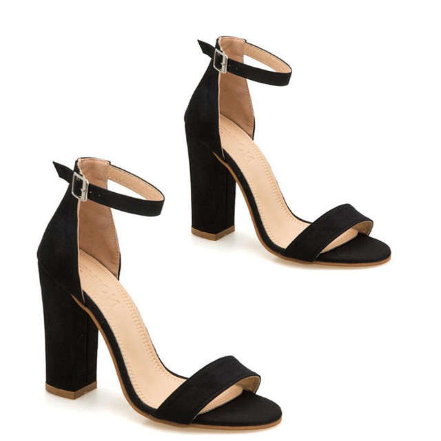 LIN KING Fashion Ankle Strap Women Casual Sandals Open Toe Summer High Heel Shoes Buckle Ladies Office Work Sandalias Shoes