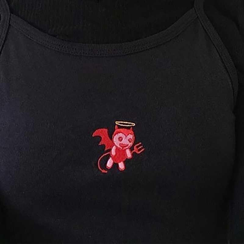 女性の小悪魔刺繍タンクトップ 2019 女性スリップ作物トップスセクシーなキャミソールクラブキャミソール女性の短いタイトなシャツ