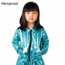 2018 แฟชั่นฤดูใบไม้ผลิฤดูใบไม้ร่วงเด็กเครื่องบินทิ้งระเบิดแจ็คเก็ตขั้นตอนการปฏิบัติงานสวมใส่ paillette feminina casaco นีออนสีฟ้าฮิปฮอปเต้นรำเสื้อ