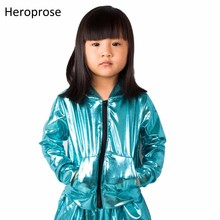 2018 Busana Musim Semi Musim Gugur Anak-anak bomber Jaket Panggung Memakai paillette feminina casaco Neon Biru Hip Hop tari mantel