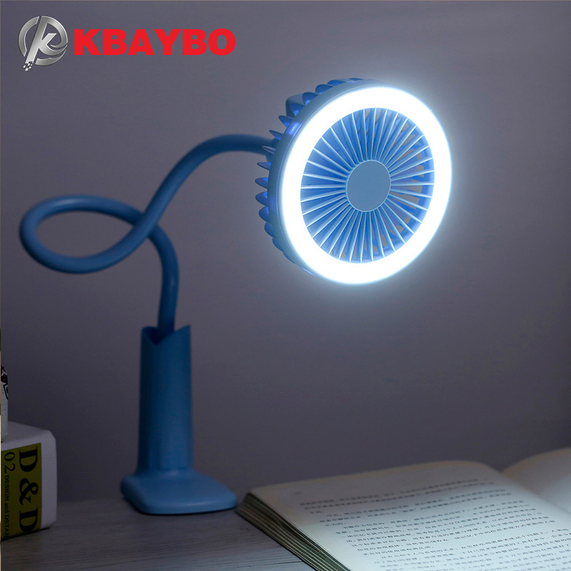 KBAYBO Ventilateur USB flexible con luz LED Ventilateur réglable de 2 velocidades Ventilateur mini Ventilateur de escritorio USB