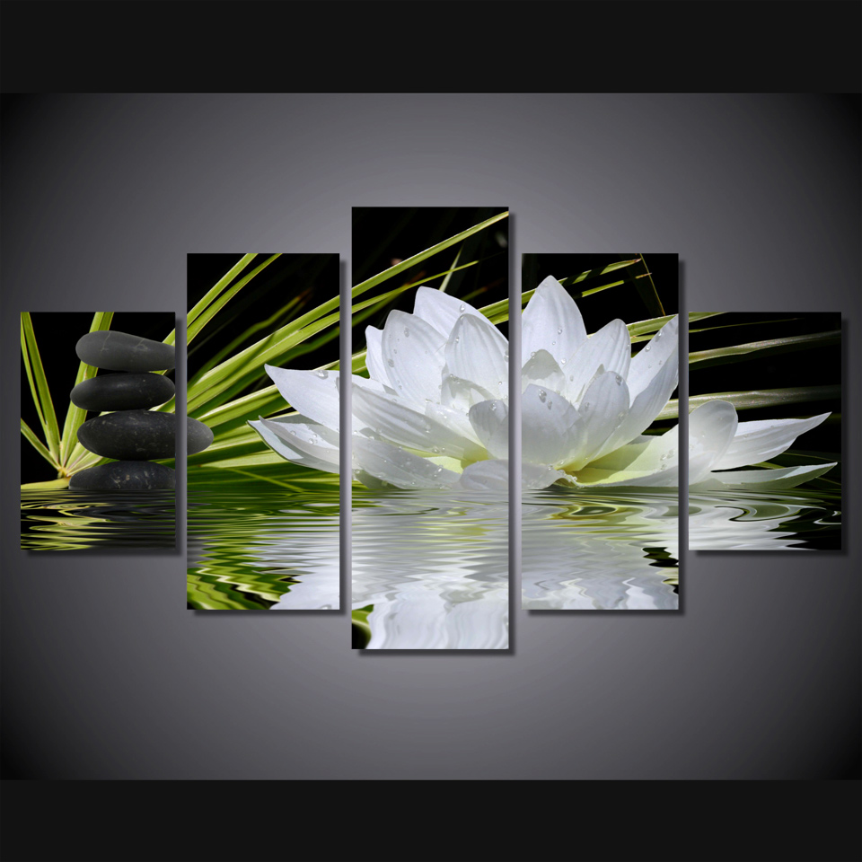 White Lotus Flower Clear Water Hd Prints Oil Painting Wall Art