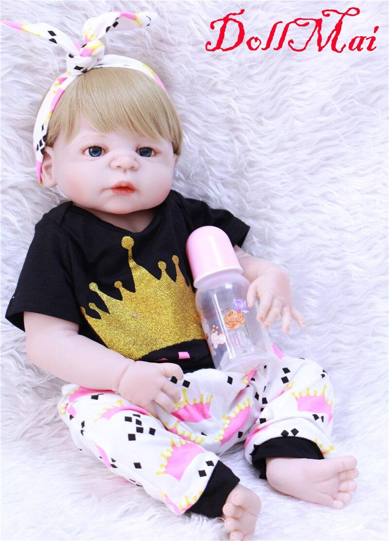 DollMai doll reborn girls toys 22 55cm full silicone reborn dolls for child gift boneca reborn silicone completa