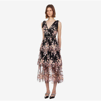 2019 Summer Women's party dress sexy V neck backless mesh dress Chic embroidered sequins floral dress A400
