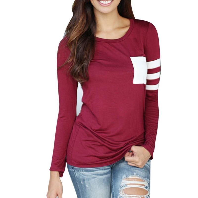 2017 Plus Size S-XL Women T Shirt O-Neck Women Tops Long Sleeve T-Shirt Fashion Tees Tumblr Splice Casual Camisetas Mujer
